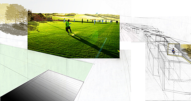 Conceptual Section Perspective - view from soccer pitch