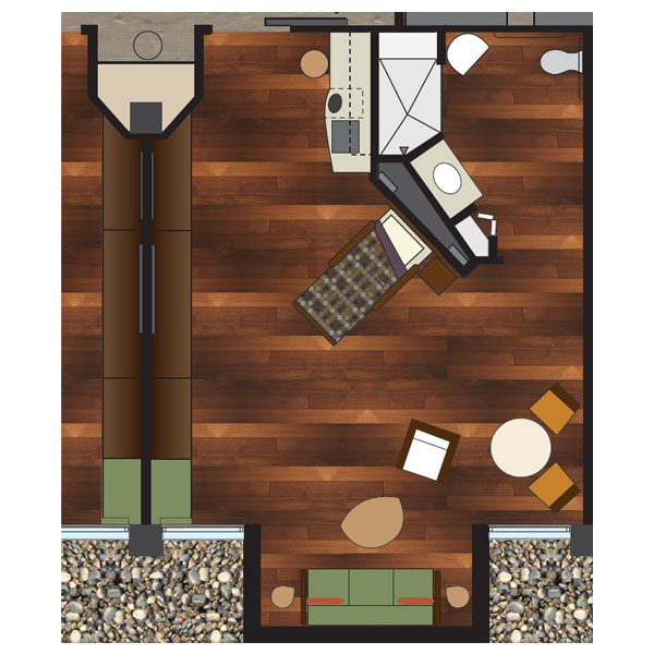 Patient Room Floor Plan showing evidence based design practices