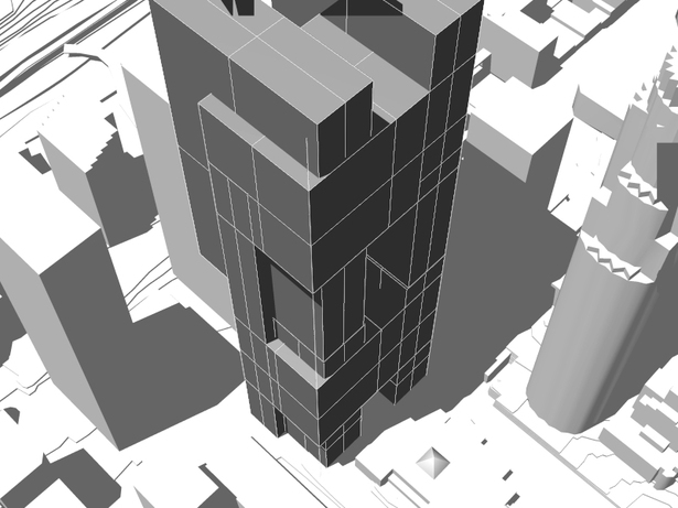 massing study- Conceptual tower study in rhino render and model
