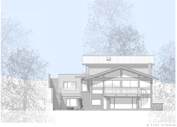 AutoCAD and photoshop presentation drawing: east elevation