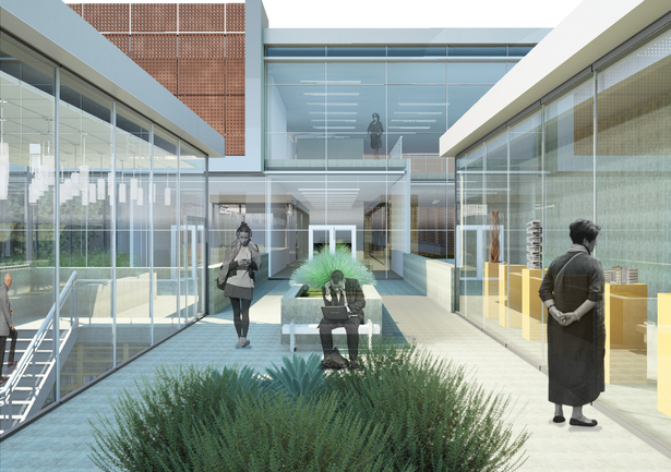 Main Entry Rendering: Revit Architecture