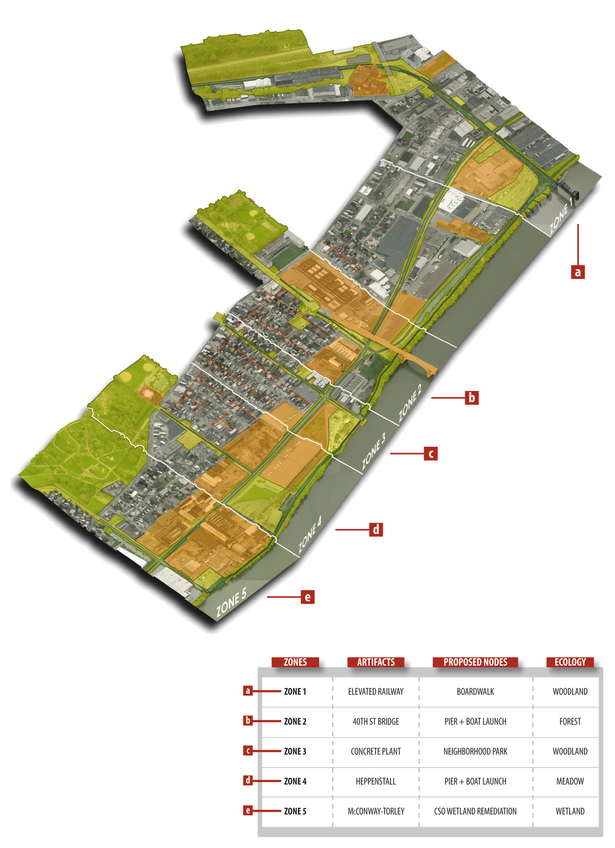 axonometric overview of framework (Bing Maps, Adobe Photoshop)