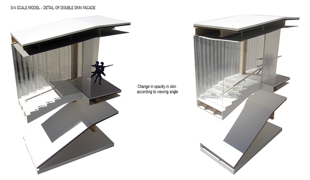 3/4 scale detailed section model: double skin facade moiré effect