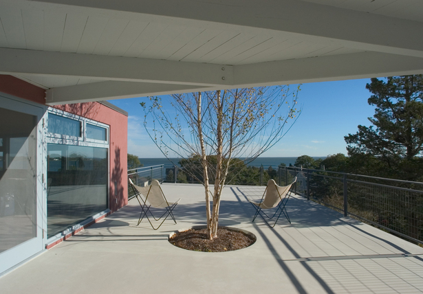 CONNECTICUT SHORE HOUSE – Concrete deck with view of L.I. sound