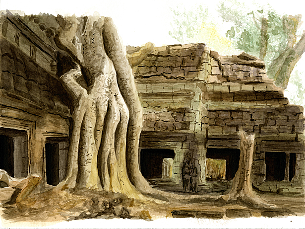 Watercolor, Angkor Wat