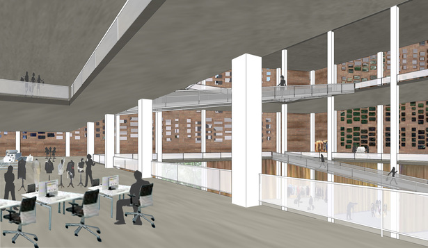 Interior View of ground floor retail and exhibit spaces and second floor design studio connected by ramp