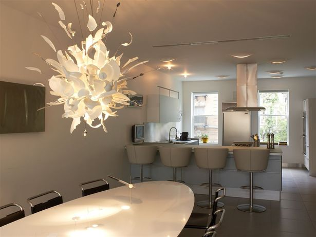 Valcucine classic white kitchen with Ingo Maurer chandelier and custom designed dining room table