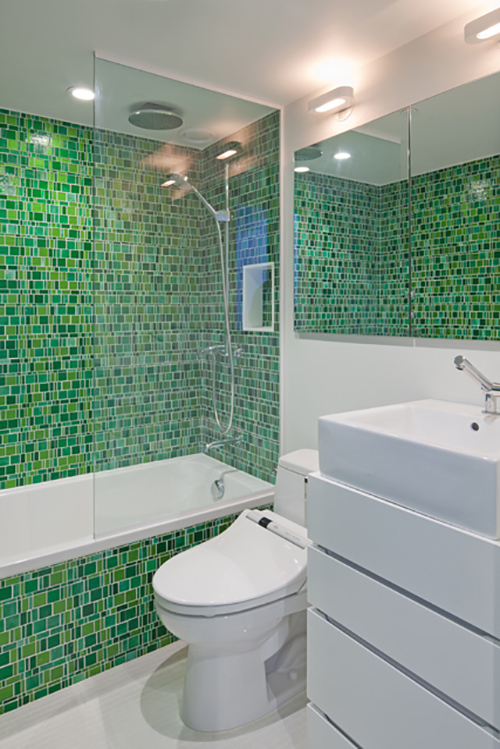 This complete renovation, from the plumbing fixtures and appliances to the hardware and finishes, integrated sustainable design principles with a client's individual aims.