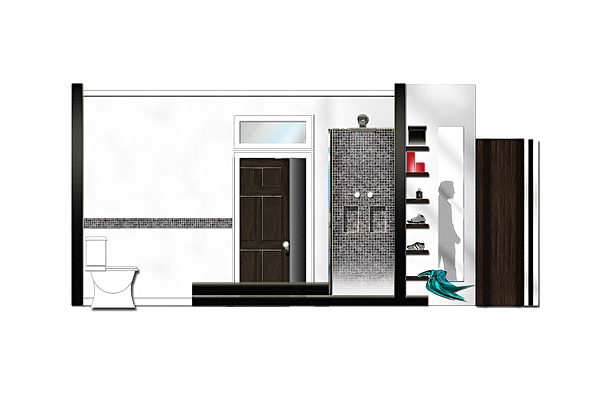 BATH SUITE TO MASTER WALK-IN CLOSET SECTION