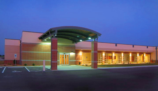 Main entrance of I-70 Medical Center. The Missouri Hospital Association later used this image for their annual report.