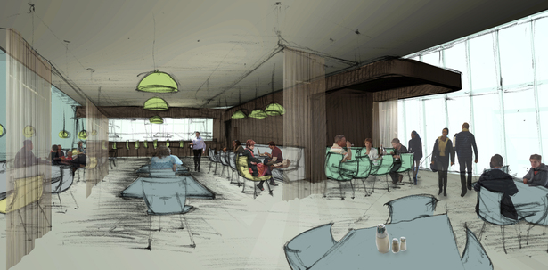 Rendering of the top floor cafe.