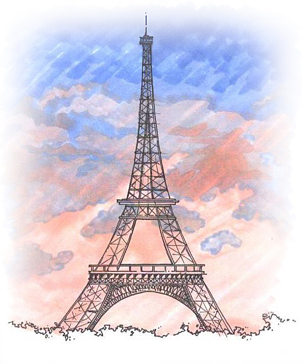 Hand Sketch - Eiffel Tower, Paris, France (Pen & Marker)