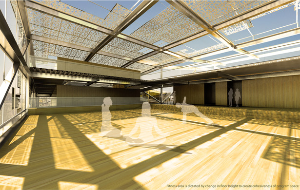 An interior rendering showing a space that is more open and light for transformations.