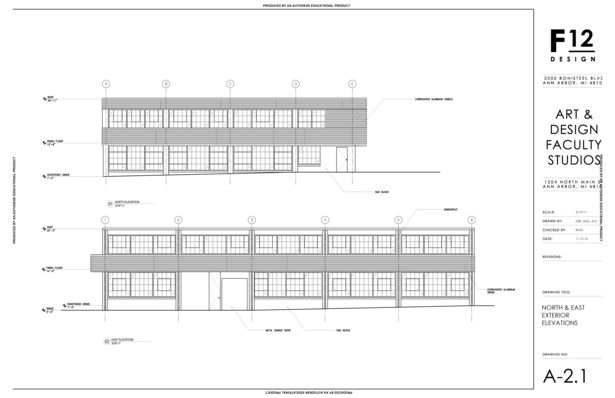 North and East Exterior Elevations