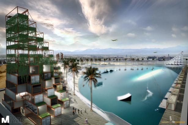 Garden Growing Tower and Beach Cabanas