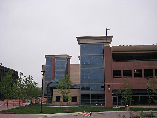 Exterior of Student Center and parking Structure