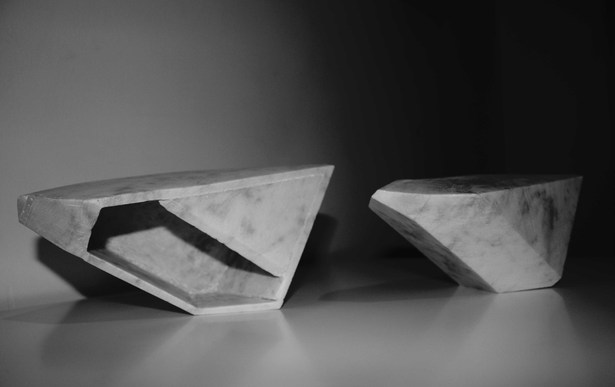 vessel and its negative space in marble