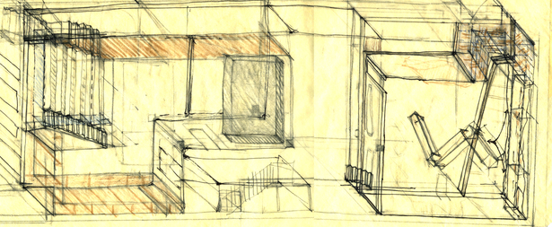Sketch of auditorium and wood shop.