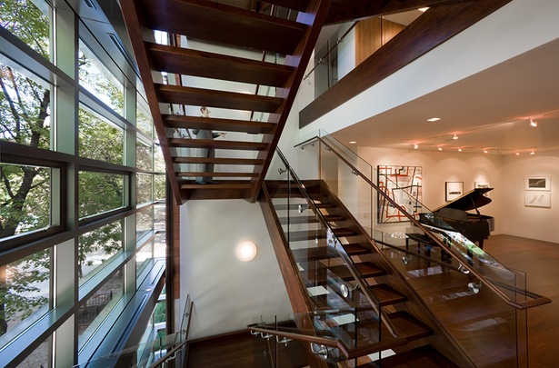 Grand mahogany stair.