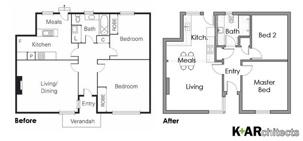 Floor Plan, Before & After. Modernised bathroom, upgraded to a practical stylish kitchen, additional storage and an open plan living