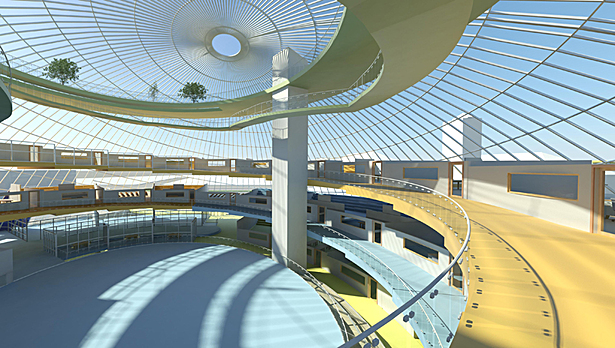 Campus International School proposal Atrium, Middle and High school spirals and interior Sky Garden.