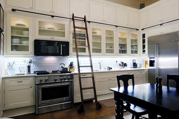 Finished kitchen with library ladder