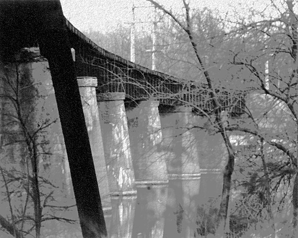 B&W Photo RR Bridge over River