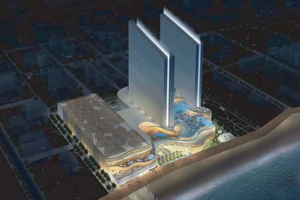 Revel Entertainment with two towers. Currently one tower is built SW view..
