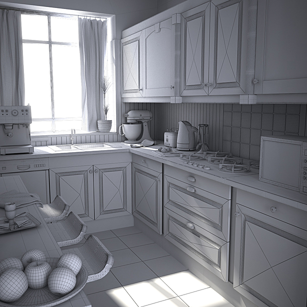 Wireframe render of kitchen model