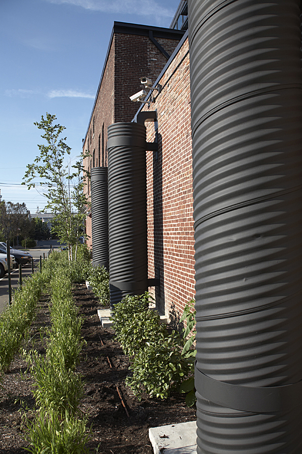 Where storm water does flow off the green roof, the three collection tanks on the west side collect up to 240 cubic feet of the flow. The water is then reused for irrigation and outdoor purposes.