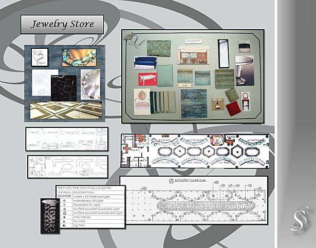 Jewelery Store Floor Plan and Material Board