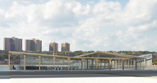 Harlem Piers Farm proposal, Hudson River Greenway entrance with bike rental, cafe and reused New York State barn wood clad barn.