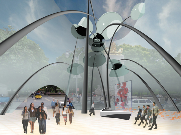 The open, fluid, dynamic and connected space provides transparency of understanding and creates a stimulating experiential journey for pedestrians as well as a inspiring worksphere for workers. The use of translucent materials allows visibility to encourage open communication and collaboration.