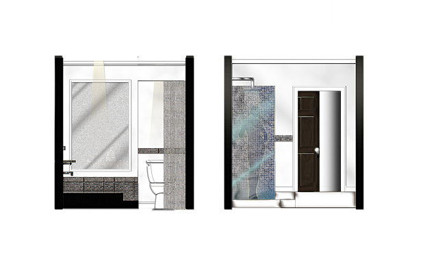 BATH SUITE TUB/TOILET WALL AND SHOWER SIDE TO WALK-IN CLOSET