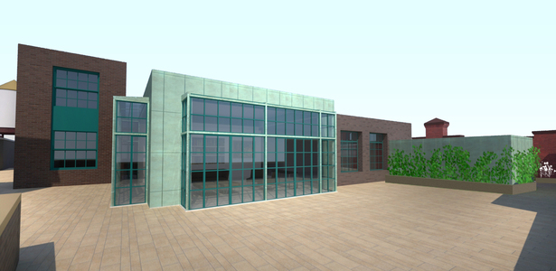 Rendered view of upper roof addition