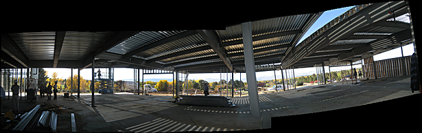 Construction View of steel framing looking west