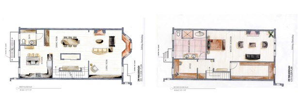 Hand rendered floor plans