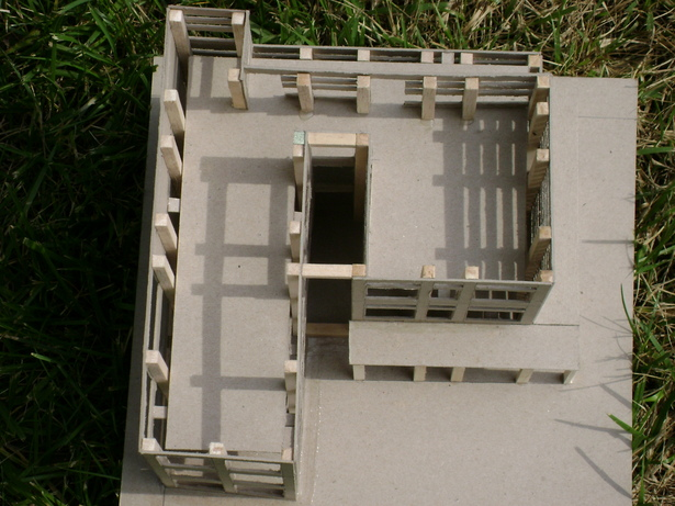 A top view of the structure. This showed a better look at the way natural light provided to the interior. The shape of the interior space went along with the idea of movement and established connections.