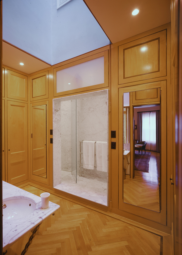 Master Bathroom view of Shower and Cabinetry