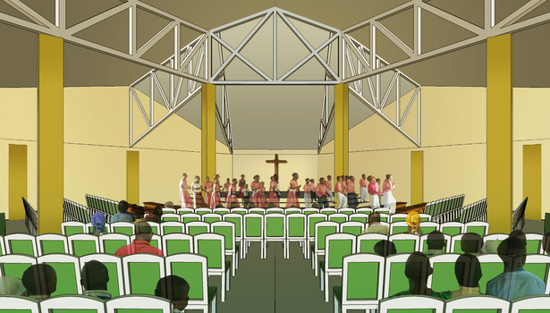 Rendering of the new church building interior.