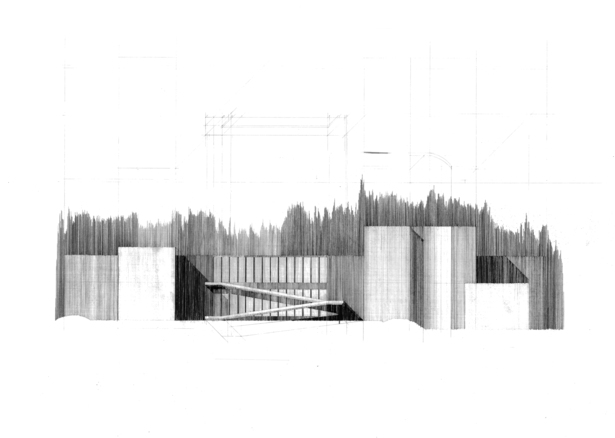 Pencil on Arches Paper - Tadao Ando's Eychaner Lee House