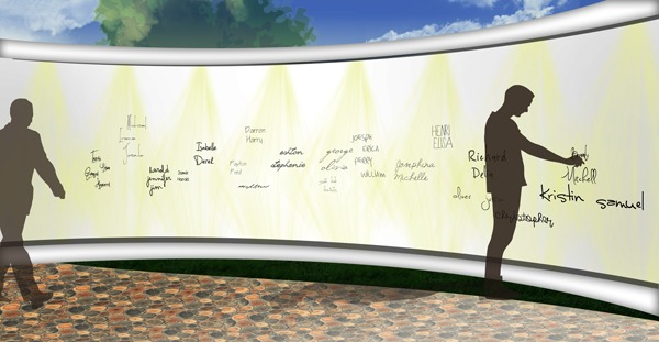 Reflect Park Wall of Names Detail: Google SketchUp, Adobe Photoshop