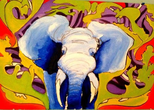elephant, oil paints, pen