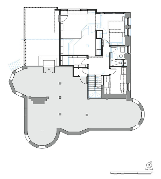 Basement Level Plan: Added construction in black, removed construction in blue, and remaining existing construc- tion in gray.