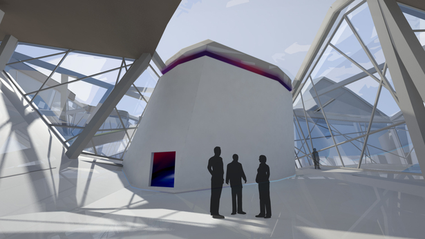 Interior gathering space and large immersive environments space