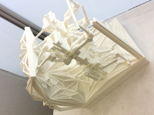Detail SLS (selective laser sintering) model of Machine and Material/Geometry Interface