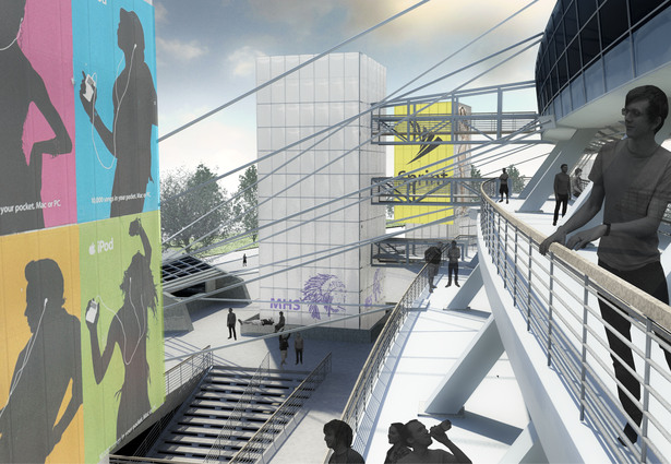 Inverted Stadium. View of Skywalk from Terraced Seating Plate