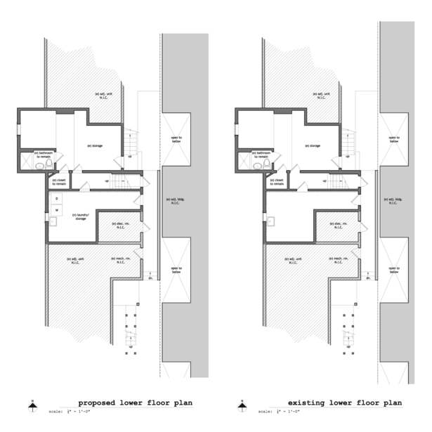 Existing & Proposed Lower Floor Plans
