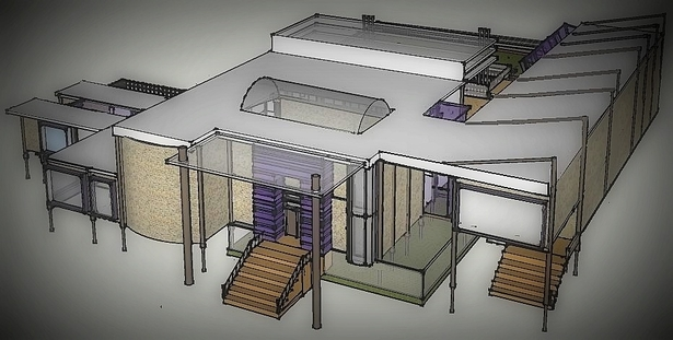 Front entrance with natural pupleheart wood, skylight and subfloor serenity garden, which lies beneath the house