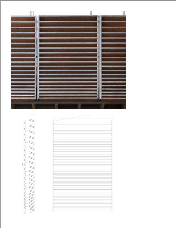 Top: Detail of Deck Panels Bottom: Drawing of Deck Panels designed to provide privacy while allowing cross breezes